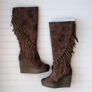 """NWT"" Sbicca Fringe Wedge Tall Knee Boots"